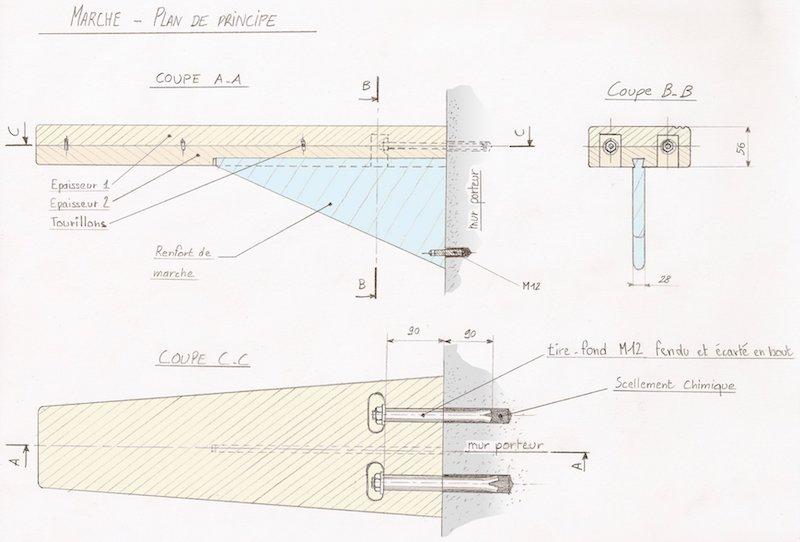 Schéma de principe des marches pour escalier quart tournant suspendu