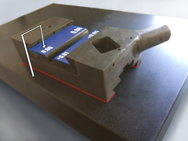 restauration d'une fraiseuse mesure parallélisme entre les glissières du transversal